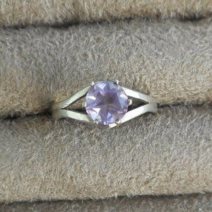 Amethyst Round Stone Ring, Size 5, Sterling Silver